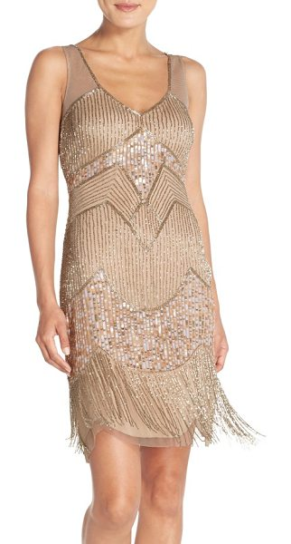 Adrianna Papell embellished mesh sheath dress in light gold - A sleeveless sheath with dazzling patterns of sequins...