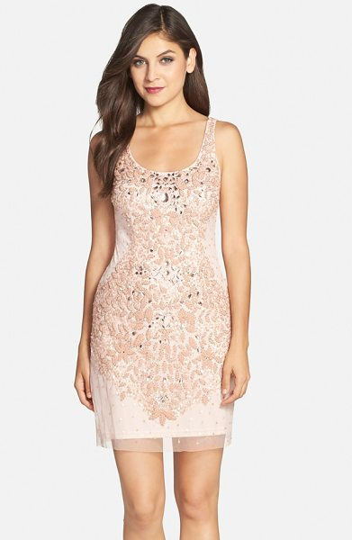 Adrianna Papell embellished mesh tank dress in blush - Iridescent beads and sequins chart an exquisite leaf...