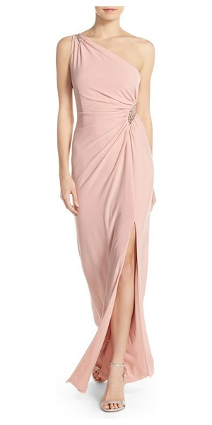 Adrianna Papell embellished one-shoulder jersey gown in icy pink - Dusty-pink jersey envelops this expertly draped and...