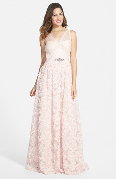 Adrianna Papell embellished petal chiffon ballgown in blush - Ethereal tulle is delicately fashioned into the ruched...