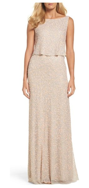 Adrianna Papell embellished popover gown in coral/ nude - Pastel sequins and crystal beading softly shimmer...