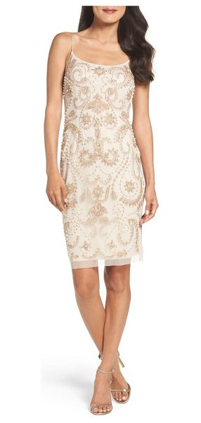 Adrianna Papell embellished sheath dress in biscotti