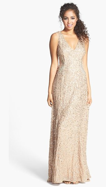 Adrianna Papell embellished v-neck gown in bronze - A sparkly web of sequins brings champagne shimmer to a...