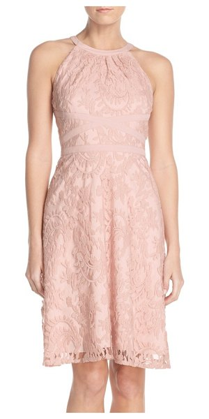 Adrianna Papell embroidered lace fit & flare dress in petal - A ruched cutaway neckline and cool banded waist give...