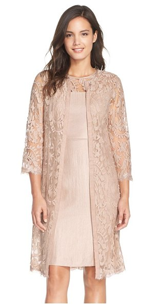 Adrianna Papell petite   embroidered lace illusion yoke sheath dress & topper in jute - A featherweight open-front topper offers modest coverage...
