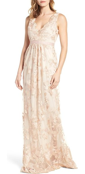 Adrianna Papell embroidered tulle gown in blush/ gold - Scalloped V-necklines in front and back follow the...