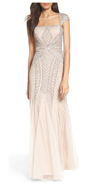 Adrianna Papell envelope embellished mesh gown in shell - This glittering gown brings out the best in your figure...