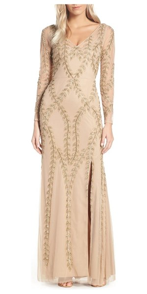 5532af8cb8 Adrianna Papell fern beaded gown in beige - Bedazzled branches of a willow  tree lattice the