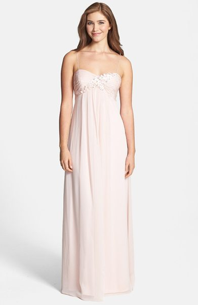 Adrianna Papell floral applique chiffon dress in blush - For nymphlike romance, opalescent petals interspersed...