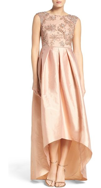 Adrianna Papell floral beaded taffeta high/low gown in rose gold - Glittering embellishments trace a lovely floral motif at...