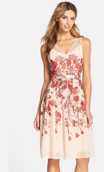 Adrianna Papell floral chiffon midi dress in blush multi - Artistic floral patterns and sheer shoulder panels...
