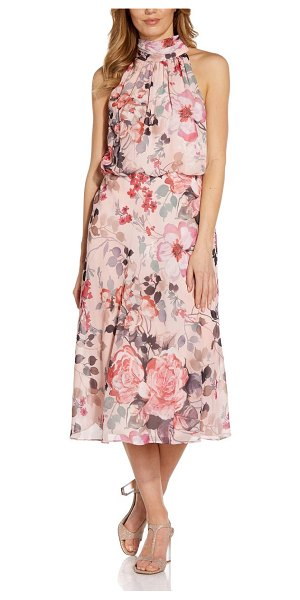 Adrianna Papell floral halter neck chiffon midi dress in coral