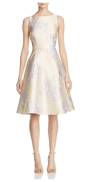 Adrianna Papell Floral Jacquard Dress in cream/silver - Adrianna Papell Floral Jacquard Dress-Women
