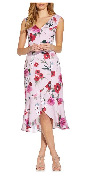 Adrianna Papell floral print ruffle midi dress in pink