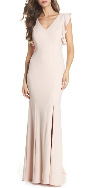 Adrianna Papell flutter sleeve crepe trumpet gown in light blush - A thigh-high slit and subtly flared trumpet skirt ease...