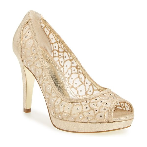 ADRIANNA PAPELL 'foxy' crystal embellished peeptoe pump - Twinkling crystals embellish the embroidered mesh of a...