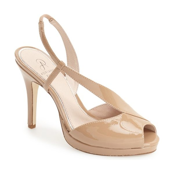 Adrianna Papell gemini slingback sandal in nude patent - An asymmetrical design modernizes a patent slingback...