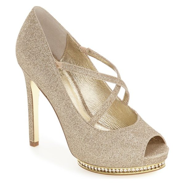 Adrianna Papell 'golda' peep toe crystal embellished platform pump in nude fabric - Slender straps crisscross at the instep of this flirty...
