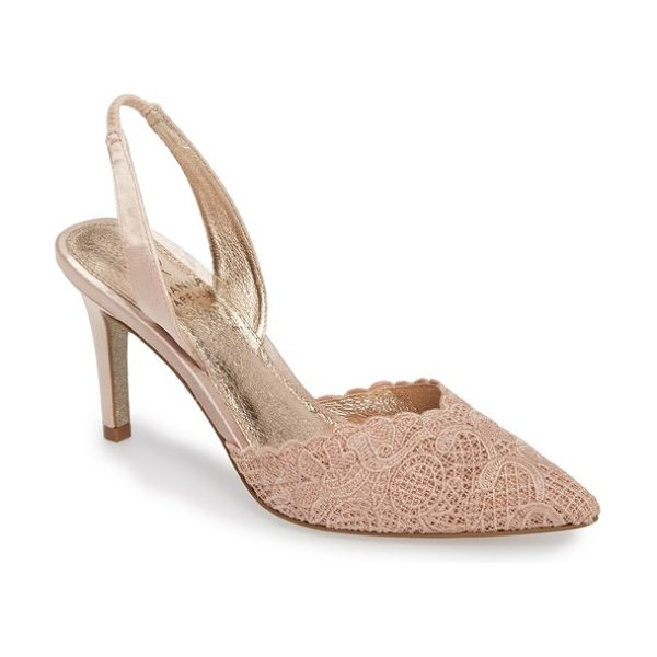 Adrianna Papell hallie slingback pump in blush attalie lace fabric - Pretty crocheted lace freshens the look of a pointy-toe...
