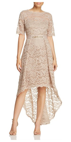 Adrianna Papell High/Low Lace Dress in antique bronze - Adrianna Papell High/Low Lace Dress-Women