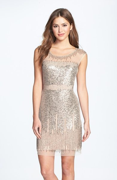 Adrianna Papell illusion yoke beaded sheath dress in taupe/ pink - Gold-burnished sequins and beads drip liquid shimmer...