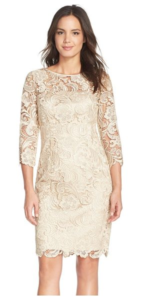 Adrianna Papell illusion yoke guipure lace sheath dress in champagne - Corded paisley-patterned floral lace overlays this...