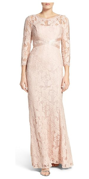 Adrianna Papell illusion yoke lace gown in blush - This illusion-yoke lace gown gets its incredibly...