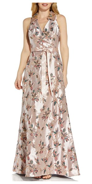 Adrianna Papell jacquard a-line gown in pink