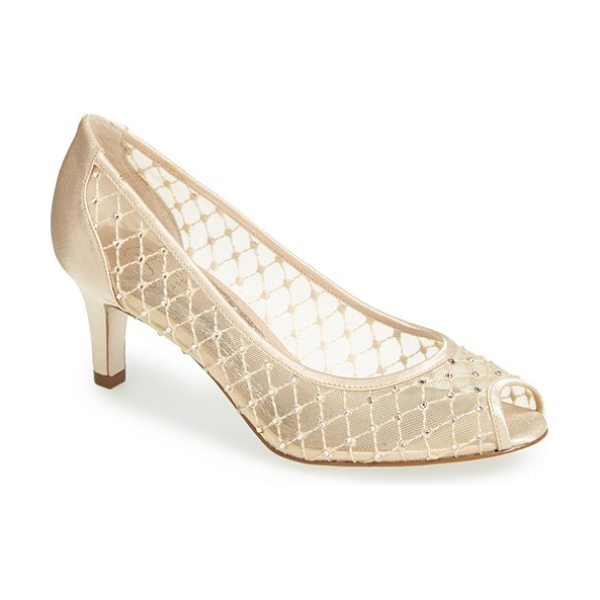 ADRIANNA PAPELL 'jamie' pump in nude - Bejeweled diamond mesh glamorizes an exquisite pump with...