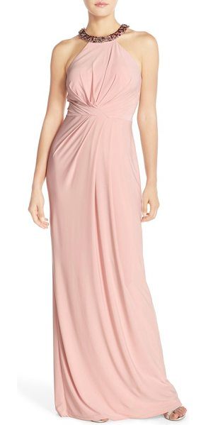 Adrianna Papell jewel neck jersey gown in icy pink - Sparkling baubles circle the halter-style neckline of an...