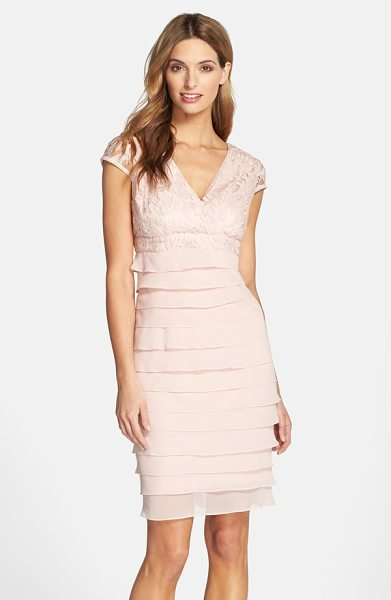 Adrianna Papell lace bodice shutter pleat sheath dress in petal - Lovely floral lace overlays the V-neck, cap-sleeve...