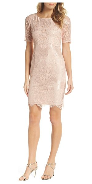 Adrianna Papell lace sheath dress in blush - Adding class to any event, this demure sheath is cut...