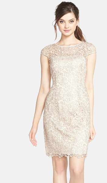 Adrianna Papell lace shift dress in beige - A lace overlay fashions the cap sleeves and sheer yoke...