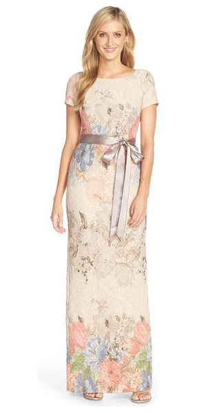 ADRIANNA PAPELL matelasse floral jacquard column gown - Fresh floral jacquard in dusty pastel hues envelops an...