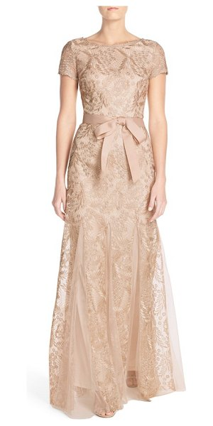 Adrianna Papell metallic embroidered gown in rose gold - Intricately embroidered designs flecked in golden...