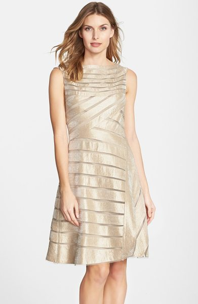 Adrianna Papell metallic mesh stripe fit & flare dress in beige - Sheer mesh insets stripe the shimmery golden fabric of...