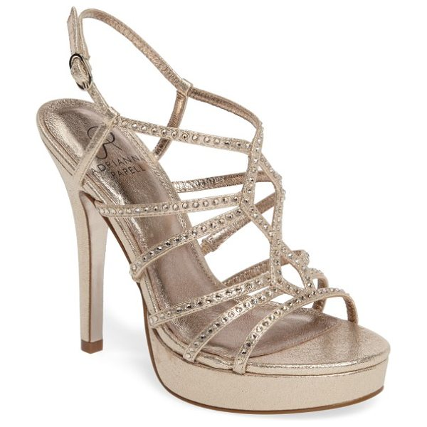 Adrianna Papell miranda embellished platform sandal in gold metallic fabric - Glittering crystals add spotlight appeal to the...