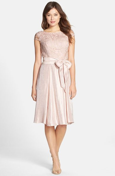ADRIANNA PAPELL mixed media fit & flare dress in petal - This cocktail dress has a demure lace bodice and...