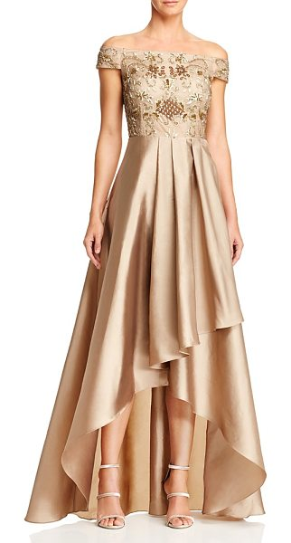 Adrianna Papell Off-the-Shoulder High/Low Beaded Gown in antique bronze - Adrianna Papell Off-the-Shoulder High/Low Beaded Gown-Women