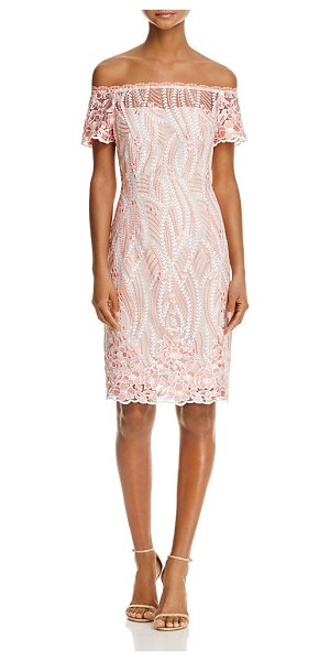 Adrianna Papell Off-the-Shoulder Lace Dress in coral multi - Adrianna Papell Off-the-Shoulder Lace Dress-Women