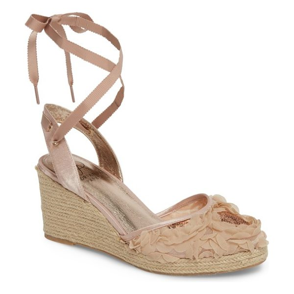 Adrianna Papell pamela espadrille wedge sandal in blush fabric - Slim grosgrain ribbons that lace up the ankle combine...