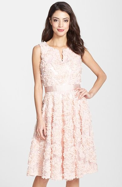 Adrianna Papell petal chiffon fit & flare dress in blush - A bouquet of lush roses blooms across the ethereal tulle...