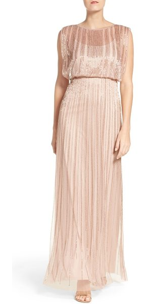 Adrianna Papell beaded mesh blouson gown in rose gold - Slimming vertical beading shimmers over the billowy...