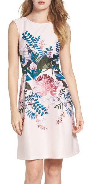 Adrianna Papell placed print fit & flare dress in blush multi - Placed to visually slim the figure, a rich botanical...