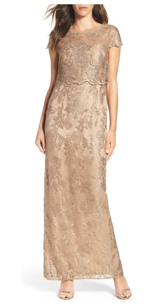 ADRIANNA PAPELL popover gown in rose gold/ nude - Shimmering embroidery catches the light on a column...