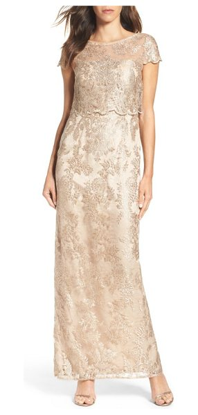 Adrianna Papell popover gown in rose gold/ nude