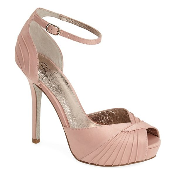 Adrianna Papell rebecca platform sandal in tea rose - Pinched pleats radiate over the peep toe of a Art...