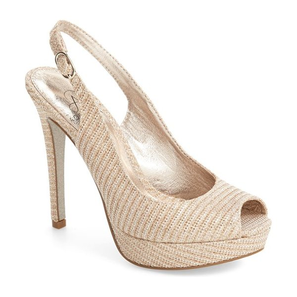 Adrianna Papell rita platform slingback sandal in nude fabric - Sparkling mesh adds a glittering finish to a stunning...