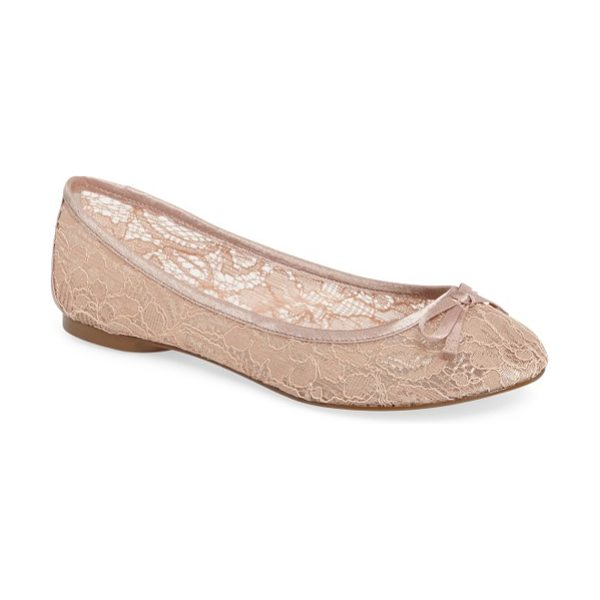Adrianna Papell sage flat in blush lace - A lacy finish and bow embellishment add subtle romance...