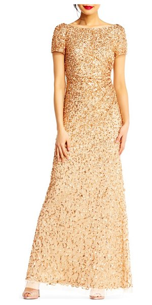 Adrianna Papell sequin cowl back gown in champagne/ gold - A mix of sequins douses this mesh evening gown in...